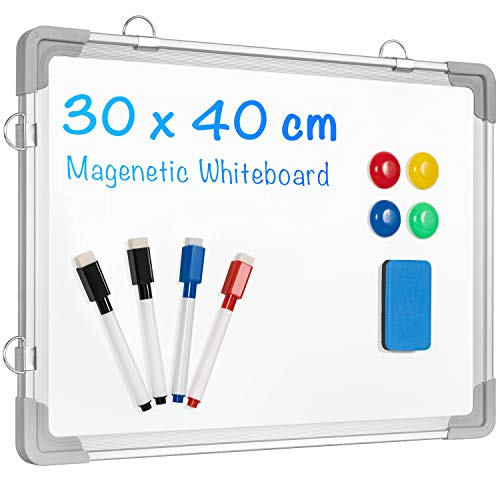 Kleines Whiteboard Trocken Abwischbar für Schreibtisch 30cmx40cm, ARCOBIS Magnetische Tragbare Doppelseitig Beschreibbar Staffelei Whiteboard Persönlicher Schreibtisch Trocken Abwischbar mit Ständer