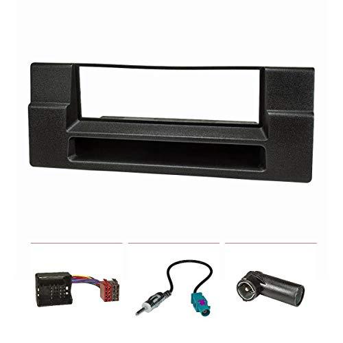 tomzz Audio 2404-021 Radioblende Set passend für BMW 5er E39, X5 E53 mit Ablagefach, Quadlockadapter ISO, Fakra Antennenadapter DIN ISO