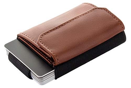 JAIMIE JACOBS Minimalist Wallet Nano Boy Pocket Mini Geldbörse aus Textil mit Zugband schmaler Kartenhalter für Herren und Damen (Dunkelbraun)