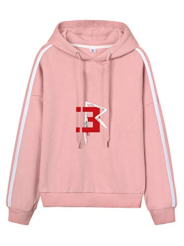 Eminem Pullover Frauen Casual Tunnelzug Hoodys gedruckt Einfach Pullover Sport Style Hoodies Unisex (Color : Pink05, Size : Height-175cm(Tag L))