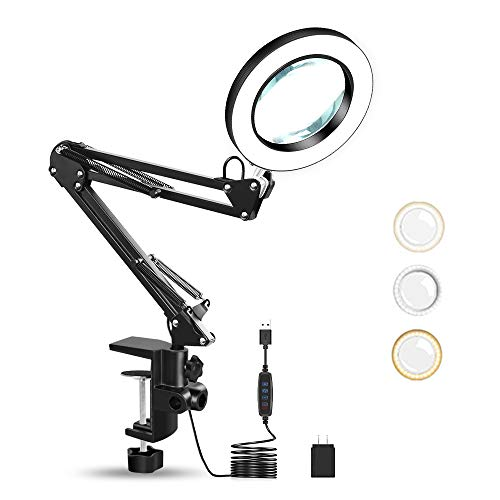 LED Magnifying Lamp with Clamp, Magnifier Desk Lamp with 3 Colors Modes 10 Levels Dimmable Magnifying Lamp with Adjustable Swivel Arm for Reading Rework Craft Or Workbench