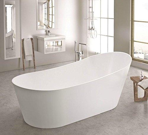 freistehende Badewanne aus Mineralguss 180x85x70 cm weiss Design QUATTRO