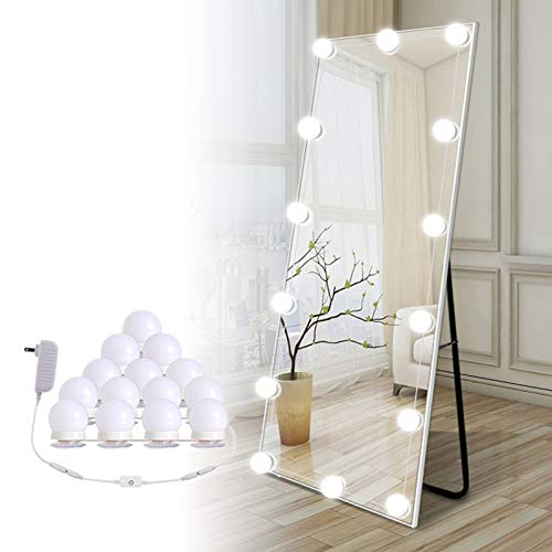 Hollywood Led Vanity Lights Strip Kit, with 14 Dimmable Light Bulbs for Full Body Length Mirror and Bathroom Wall Mirror, Plug in Mirror Lights with Power Supply, White (No Mirror Included)