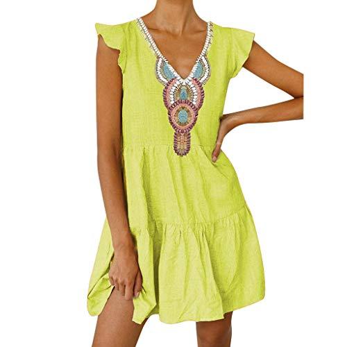 Lialbert Boho Leinenkleid Vintage Skaterkleid Dame Kleid A-Linie V-Ausschnitt Pailletten RüSchenäRmeln Strandkleid Tunika T-Shirt-Kleid Kurzes HäNgerkleid Gelb