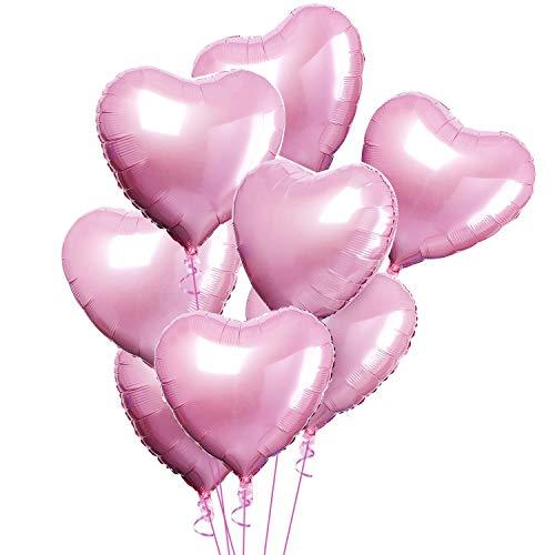 CozofLuv 25 Stück 18 Zoll Herzballons Folienballons Luftballons Herzform Heliumballons Herzluftballons für Geburtstag Valentinstag Hochzeit Verlobung (Rosa)