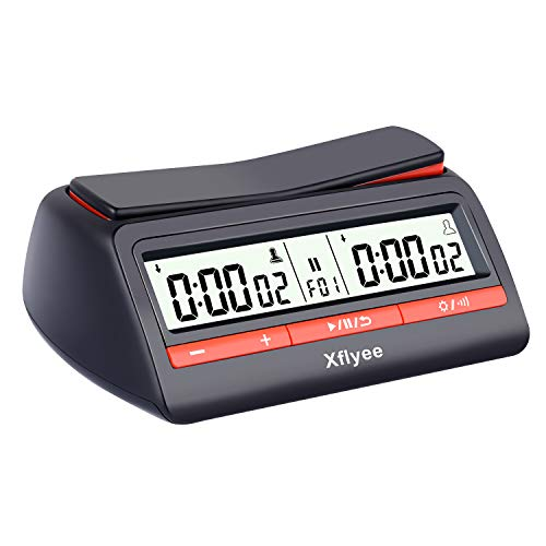 Xflyee Digital Chess Clock Count Up Down Chess Game Timer with Alarm Function Basic Digital Chess Clock & Game Timer