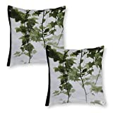 DKE&YMQ Juego de 2 fundas de cojín decorativas de lino para el hogar, ramas y ramas de hojas