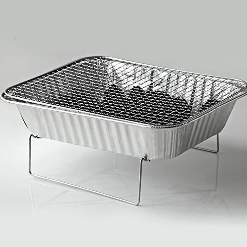 41pYpjLCF L. SL500  - Mothcattl Barbecue-Ofen, Einweg-Grill, tragbar, für Zuhause, Outdoor, Picknick, Grill mit Holzkohle silber