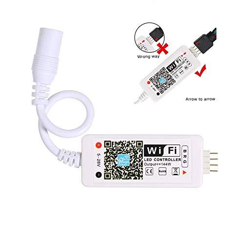 REFURBISHHOUSETelecomando WiFi LED funziona con Alexa/Google Home Voice Control per 5050/3528 Luci LED RGB Cambia/Dimmer / Timer/Funzione attivata dal suono - Controllo iOS/Android APP gratuito