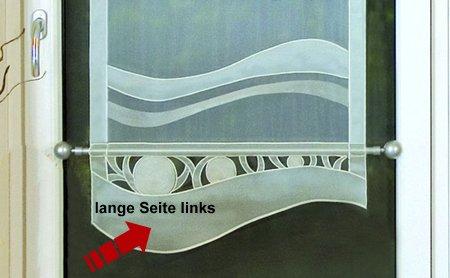 Gardinenking Viora Genf Fensterbehang fertig genäht mit Zierstange Stickerei Organze mit Vlies (140 cm hoch/ 80 cm breit - Lange Seite Links, Creme)