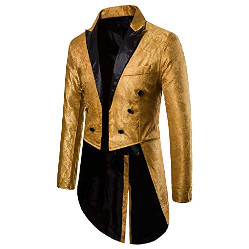 Charm Gothic Smoking Frackhemden Anzug , Heißprägen Retro Drucken Punk Steam Goth Jacke Strickjacke Mantel Mens Tailcoat Jacket Steampunk Uniform Fit Suit Cardigan Outwear Coat for Bankett Performance