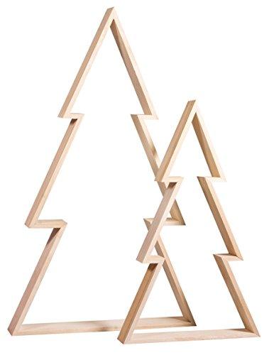 Rayher 62830000 Holz-Rahmen Weihnachtsbaum Set, 2 Holz-Bäume, 22x36 cm und 30x49,5 cm, Tannenbaum, weihnachtliche Dekoration