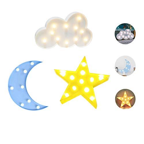 Luckiey Luces de noche decorativas LED de media luna y estrella, para niños y adultos, guardería, fiesta de cumpleaños, decoración de día festivo, decoración de habitación...