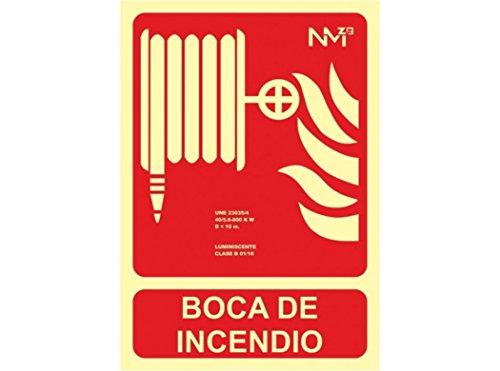 Normaluz Señal RD00108 Boca de Incendio 21x30 cm Clase B PVC 0,7mm Extinción Homologada de Alta Calidad, Rojo, 21x30cm