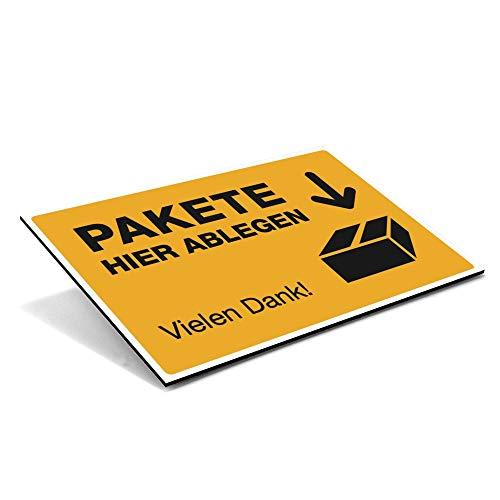 stempel-fabrik (Żółty sygnałowe, tabliczka kompozytowa aluminium 600 x 400 x 4 mm) Tekst: Paczka do odkładania zamówienia Dziękujemy / piktogram - półka na paczki - wysyłka - pozwolenie na odstawienie - miejsce przechowywania - garaż - drzwi