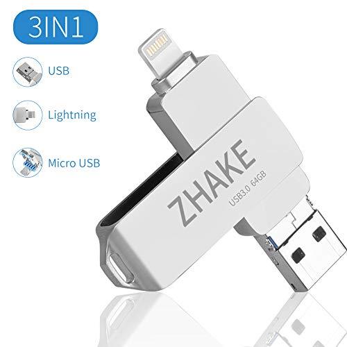 Memoria USB Universal de 64 GB 3.0, Pen Drive Tipo Micro USB Unidad de Almacenamiento Externo U Disk para iPhone/iPad/iPod/Mac/iOS/teléfono móvil y Ordenador, Plata