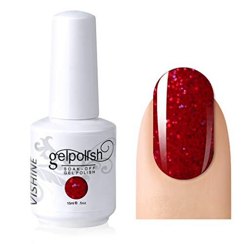 Vishine Gelpolish Lacquer Shiny Color Soak Off UV LED Gel Nail Polish Professional Manicure Glitter Red(1550)