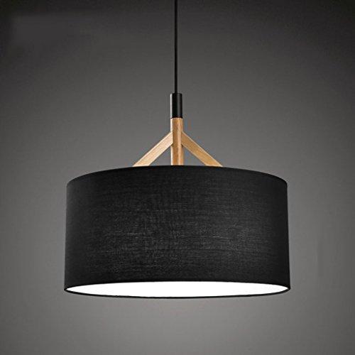 Lustre Lampes Moderne Minimaliste Salon Chambre Étude Creative Ronde Bois Chiffonniers Noir Rollsnownow (Couleur : Noir)