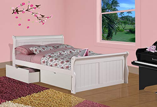 Donco Kids Sleigh Bed with Dual Underbed Drawers, Full, White