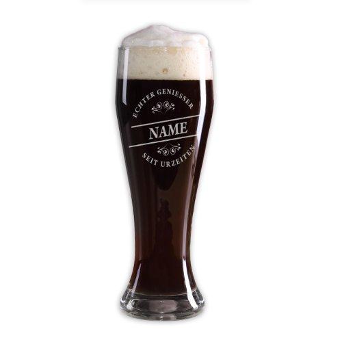 Herz & Heim® Weizenglas (Bohemia) 500ml - Echter Geniesser - mit Gratis Gravur des gewünschten Namens