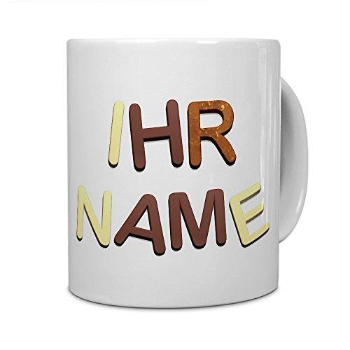 printplanet® Tasse mit Namen personalisiert - Motiv Schokoladenbuchstaben individuell gestalten - Farbvariante Weiß