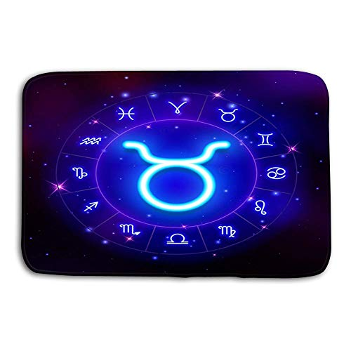 Bikofhd Patterns Camping Holiday Rectangle Non-Slip Rubber Mat Multicolor 23.6 by 15.7 Inch Taurus Zodiac Sign Horoscope Symbol