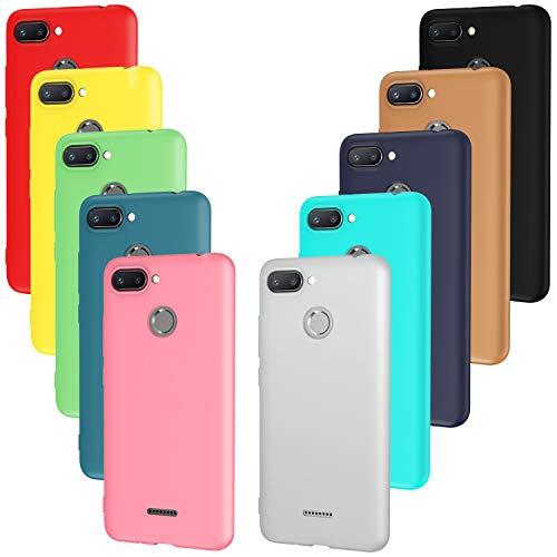 ivoler 10 x Funda para Xiaomi Redmi 6 / Xiaomi Redmi 6A, Ultra Fina Carcasa Silicona TPU Protector Flexible Funda (Negro, Gris, Azul Oscuro, Azul Cielo, Azul, Verde, Rosa, Rojo, Amarillo, Marrón)