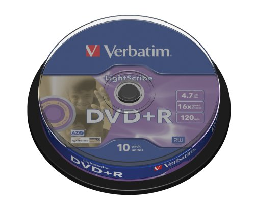 Verbatim DVD+R Advanced AZO+ Vírgenes de DVD 16x 4,7 GB LightScribe Surface Version 1.2 10 Unidades en Spindle