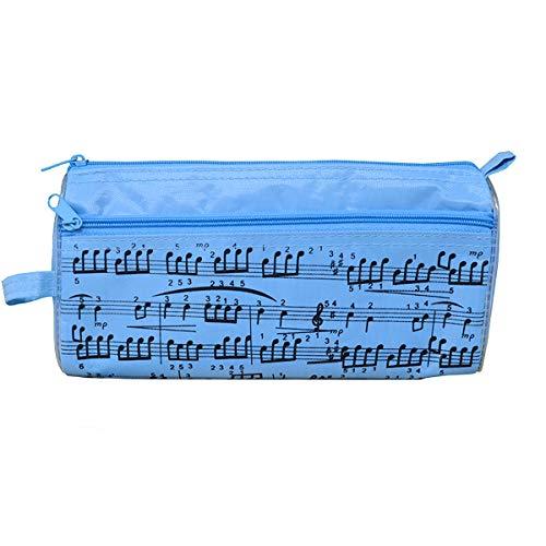 Astuccio portamatite con note musicali, custodia impermeabile in tessuto Oxford, portatile, con penna a sfera capacitiva in omaggio Blue
