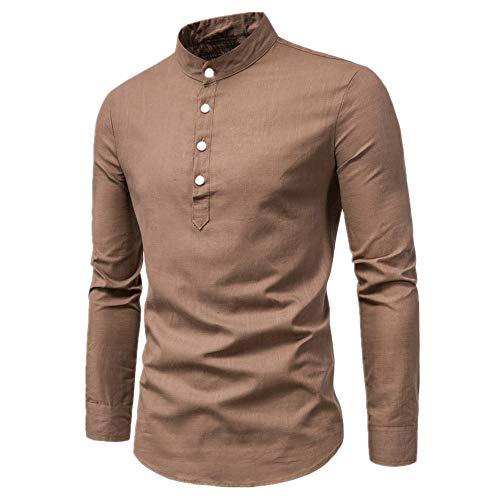 N\P Camisa de manga larga para hombre de primavera y otoño de algodón de cáñamo, de color sólido, cuello de pie