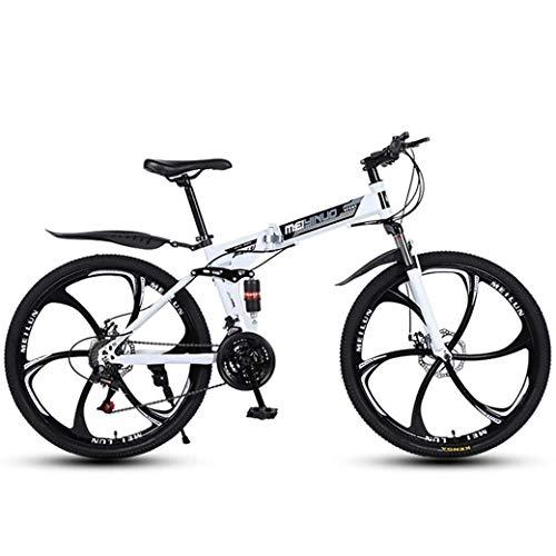bicicletta ztyd ZTYD 26 in Mountain Bike a 24 velocità per Adulti Telaio a Sospensione Completa in Alluminio Leggero Forcella Ammortizzata Freno a Disco Bianco D