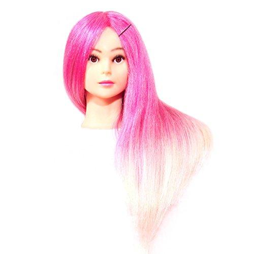 Tête à Coiffer Tête d'Exercice Cheveux Synthétique pour Friser, Boucler, Couper, Tresser - Couleur Rose