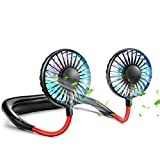Portable Hands Free Neck Fan, Mini Personal Fan Wearable Hanging Neckband Fan with 7 Colors Light Changing, 3 Speeds, USB Rechargeable, 360 Degree Free Rotation Great for Sport Office Home Out (Black)