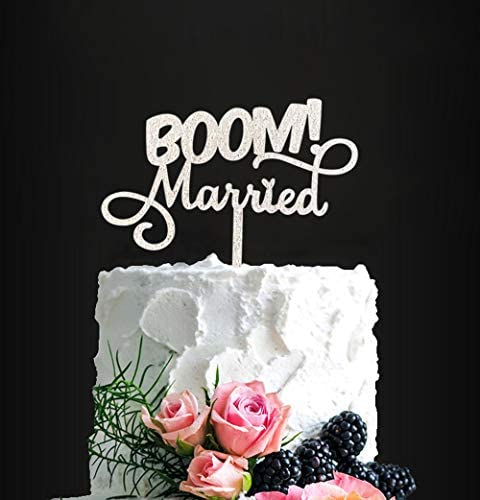 BOOM Married Wedding Cake Topper Silver Glitter Funny Cake Topper Quirky Nerdy Topper product image
