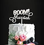 BOOM! Married Wedding Cake Topper, Silver Glitter Funny Cake Topper, Quirky, Nerdy Topper