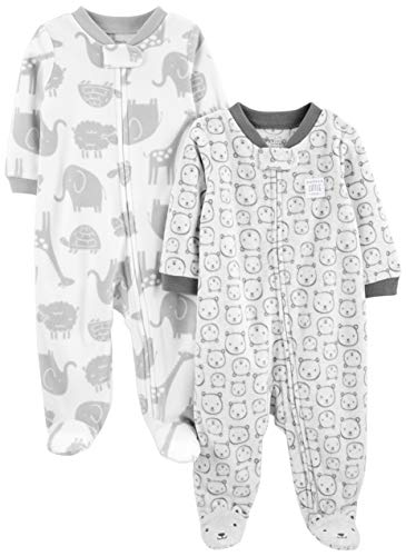 Simple Joys by Carter's Baby paquete de 2 calcetines de forro polar para dormir y jugar ,Animals Green/Bears ,3-6 Meses