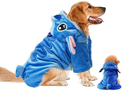 Gimilife Pet Costume, Dog Hoodie,Pet Xmas Pajamas Outfit, Pet Coat for Small Medium Large Dogs and Cats,Pet Disney Stitch Cartoon,Halloween and Winter -XL