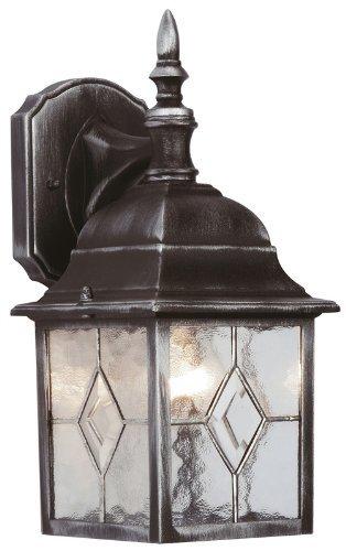 Power Master Ornato lantaarn voor tuin, wand, licht 4 zijden, zilverkleurig, zwart, mat