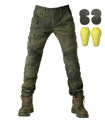 Sportliche Motorrad Hose Mit Protektoren Motorradhose mit Oberschenkeltaschen Armee grün(L- (Waist 34.5