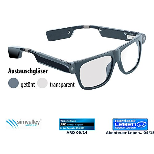simvalley MOBILE Kamera Brille Bluetooth: Smart Glasses SG-100.bt mit Bluetooth und 720p HD (Brillenkameras)