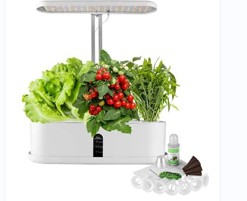 Hydroponische Anzuchtsysteme, WADEO Hydroponisches Anzuchtsytem, 16H Timer für LED Beleuchtung und Bewässerungssystem, Höhenverstellbar (10 Pods, ohne Samen)