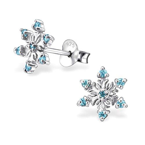 GH1a Kristall Schneeflocke Ohrstecker 925 Echt Silber Mädchen Kinder Ohrringe Geschenkidee (Aquablau)