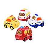 TOYMYTOY Auto Spielzeug Reibungsauto Push and Go Spielzeug Mini Fahrzeuge pädagogisch Baby Kleinkind Spielzeug – 4 Stück