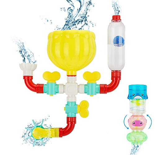 wodtoizi Bath Toy Pipes and Stackable Baby Bath Toy Set Bathtub Water Toy Building Pipes Suction Cups,Valves,Shower,Water Wheel,Knobs,Ball and Tube,Educational Gift for Kids Toddlers Babies Age 1 to 4