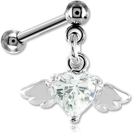 INOKI - Tragus and Cartilage Jewellery Winged Crystal Heart