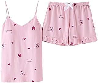 منامة ملابس نوم نسائية أنيقة للفتيات ملابس نوم على شكل قلب بدلة نوم نسائية YUXUJSA (اللون: وردي، المقاس: L)