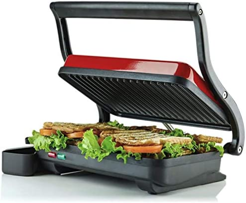 Ovente Electric Indoor Panini Press Grill with Non Stick Double Flat Cooking Plate Removable product image