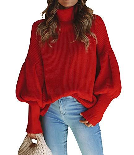 Yidarton Pull Femme Col Roulé Hiver Chic Chaud Hauts Couleur Unie Ample Sweaters Blouse (Rouge, Medium)