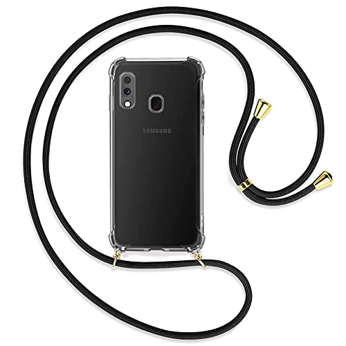 TBOC Funda para Samsung Galaxy A20e A202 FD [5.8 Pulgadas] - Carcasa Transparente con Cuerda [Negra] para Móvil Cordón Ajustable Práctico Collar de Moda Cadena para Cuello Resistente Arañazos