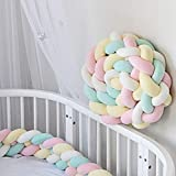 Baby Braided Crib Bumper Knotted Bumper Plush Toodle Bed Protective Nursery Decor Bedding Cushion for Toddler/Newborn 86.6inch Long, C